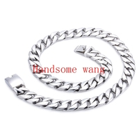Heavy Huge 328g 316 Stainless Steel Silver High Quality Cuba Foundry Link Nacklace Chain For Handsome