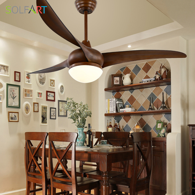 Sol Ceiling Fan Simple Restaurant Lighting Modern Wood With Light Remote Control Slf8810
