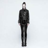 Gothic Disc Flowers Buttons Pants Sexy Female Rivet Belt Twill Woven Fabric Trousers Daft Punk Rock Armor Jeans Brush Gum Pants