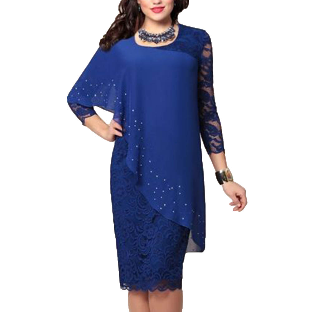Uefaof Plus Size Womens Fashion Solid Ruched Long Foldover Collar Personalized Stitching Design