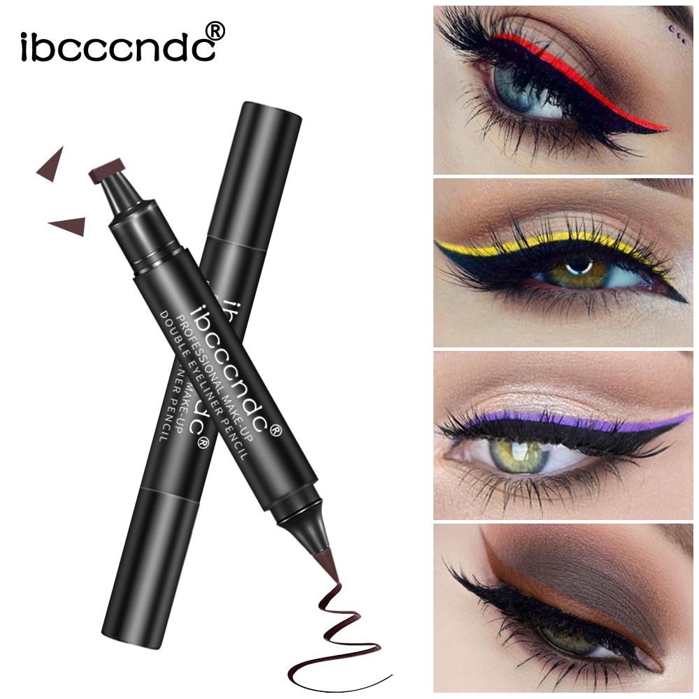 IBCCCNDC Brand Makeup Black Eye Liner Liquid Pencil Quick Dry Waterproof Black Double-ended Makeup Stamps Wing Eyeliner Pencil 2