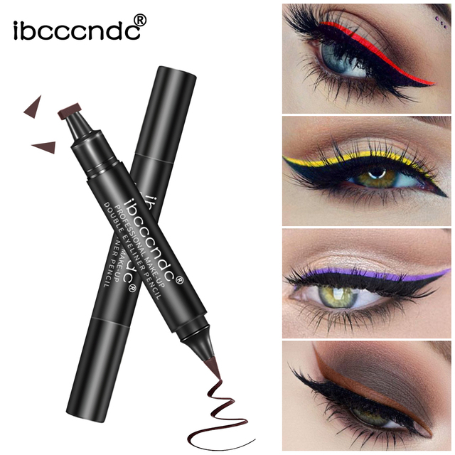 IBCCCNDC Brand Makeup Black Eye Liner Liquid Pencil Quick Dry Waterproof Black Double-ended Makeup Stamps Wing Eyeliner Pencil 2