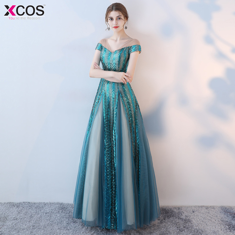 Sexy   Prom     Dress   2018 V Neck A-Line Sequined Blue Evening   Dresses   Long vestidos gala Luxury   Prom   Party Gown Robe de Soiree