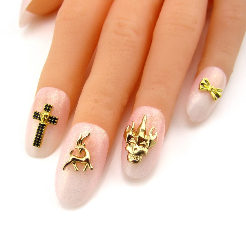 10pcs Skull crown cool design deer metal nail art gold 3d bows nail ...