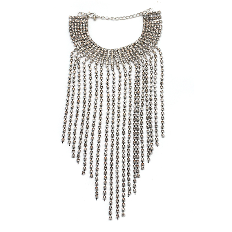 2017 Free Shipping fashion long crystal tassel necklace Europe costume chunky choker statement Necklaces jewelry women NHJJ1944