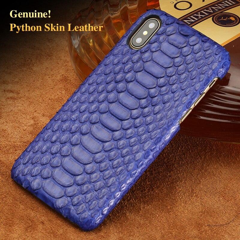 LAGNSIDI ブランドレザー電話ケースナチュラルパイソンスキンカバー電話ケースのための iphone 8 プラス 5s 、 se 7 プラス xr × カバー手作りカスタム  グループ上の 携帯電話 & 電気通信 からの ハーフラップケース の中 1