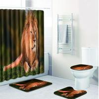 MeterMall 4pcs/set Lion Printed Toilet Polyester Cover Mat Non Slip Floor Mat Set Bathroom Shower Curtain Bath Mat Bathroom Suit