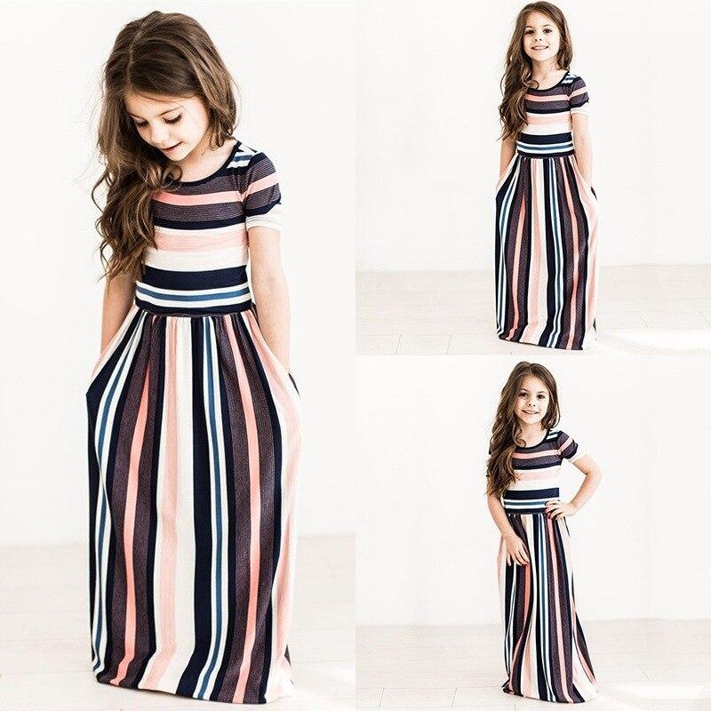 girls straight summer 2017 fashion kids maxi dress cute