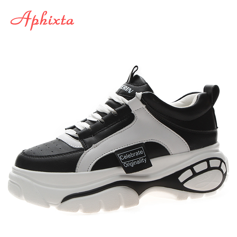 Aphixta New Femal Platform Sneakers Ultra light Thick soled Women Shoes Bling Explosions Lace up High
