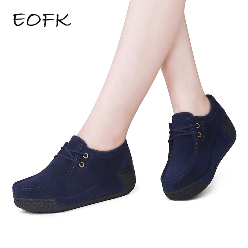 EOFK Autumn Women Platform Elegant Flat Suede leather Moccasins Shoes Woman Women's Casual Round Sneakers Thick Bottom Shoes smile circle spring autumn women shoes casual sneakers for women fashion lace up flat platform shoes thick bottom sneakers