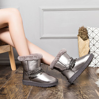 Jookrrix New Warm Shoes Women Metal Chain Brand Winter Snow Boots Lady chaussure Female Silver footware Girl Boots Soft Star