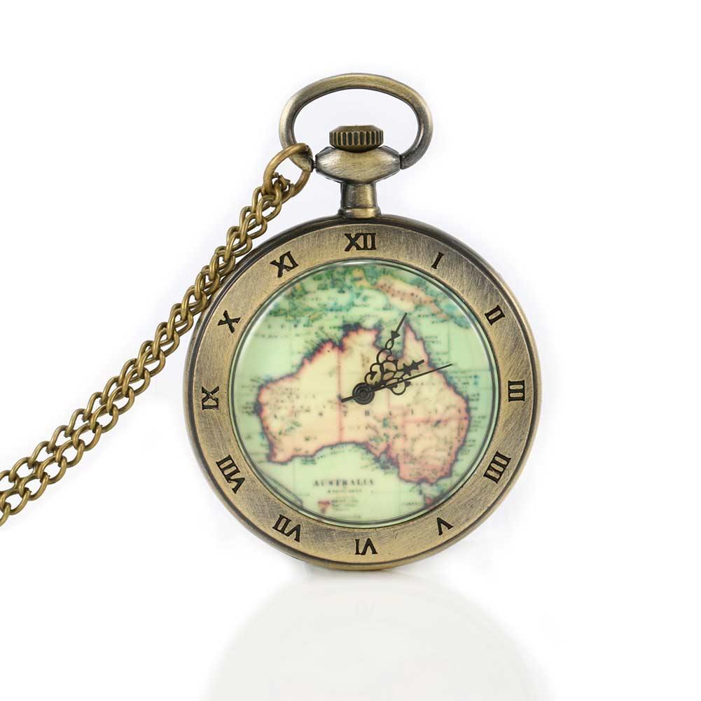 Pocket Watch Vintage Quartz Fob Retro Antique Map Necklace Pendant Pocket Watch Birthday Christmas Gift LL@17