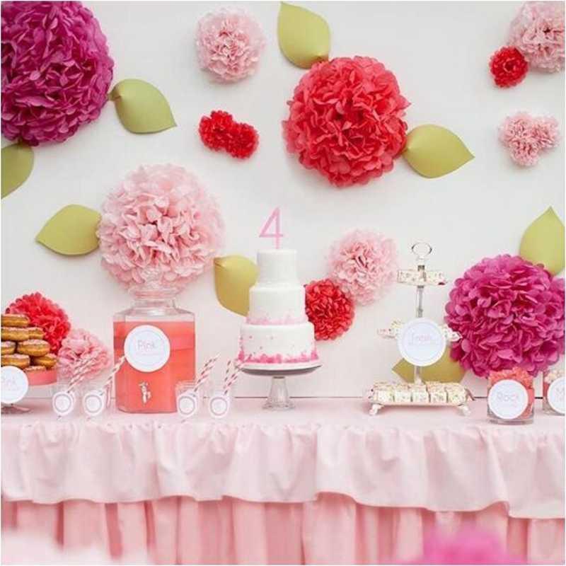 Festa 5 pçs 8 polegadas 20cm flores artificiais papel de tecido pom pompons papel flores bola pompom casamento aniversário decoração festas