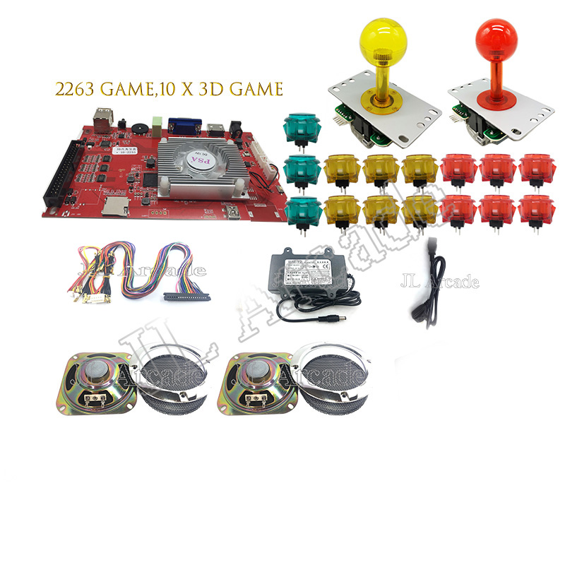 2Player DIY Arcade Console Kit 3D Pandora 7 2263 in 1 game board 5Pin joystick 5V Low sound  Push Button for Arcade Machine
