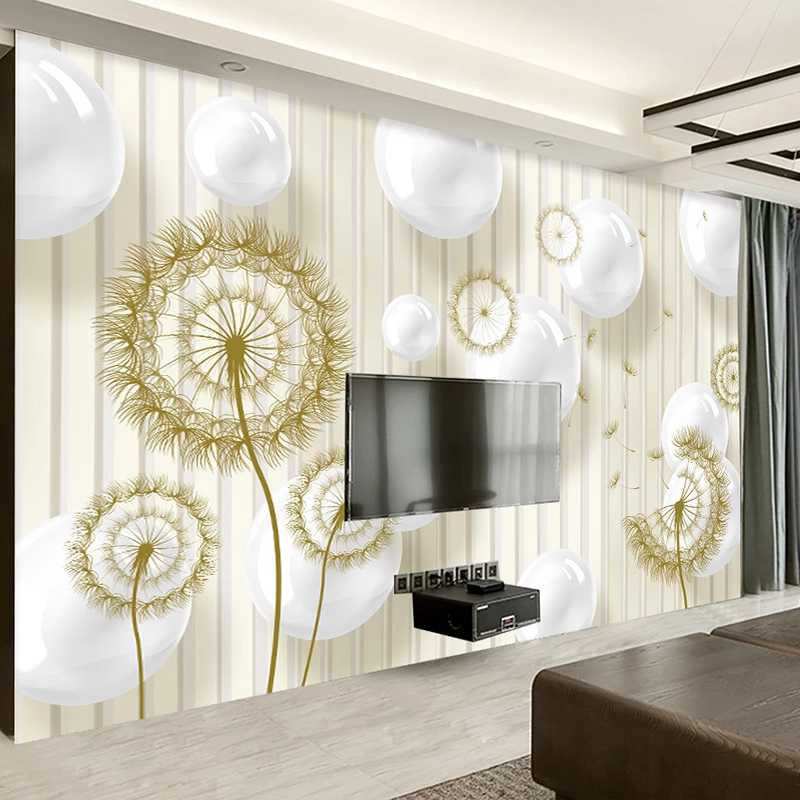 Custom Wall Murals Wallpaper 3D Stereoscopic Circle Ball Dandelion Modern Living Room Sofa TV Background Photo Mural Sticker