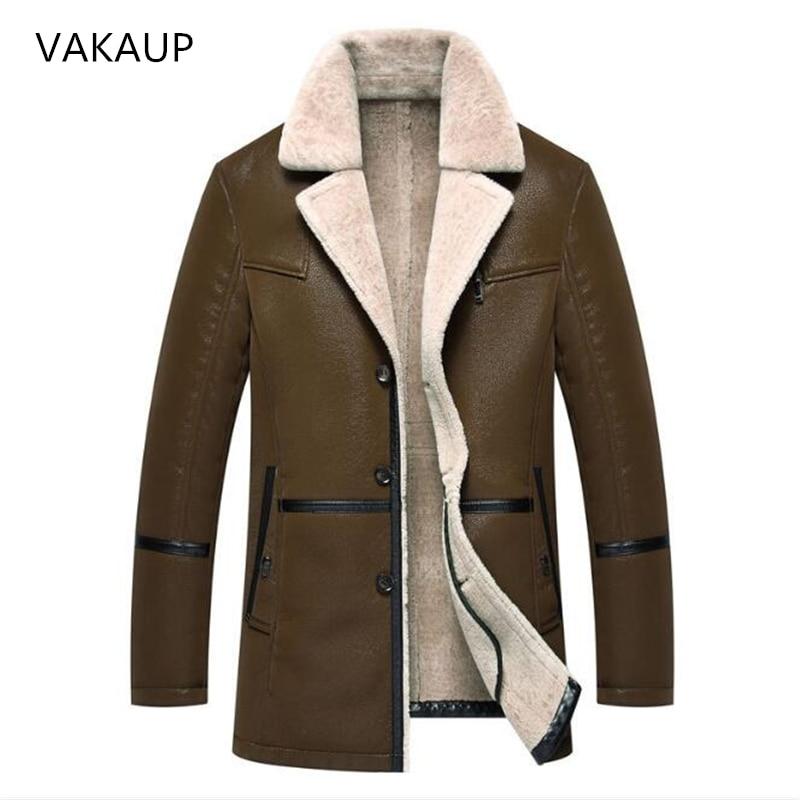 Herren Leder Jacken Fell In Einem Lange Plüsch Und Dicken Mantel In Winter Schaffell Jacke Männer Halten Warme Herren Mäntel Deri Ceket