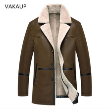 Mens Leather Jackets Fur In One Long Plush And Thick Overcoa