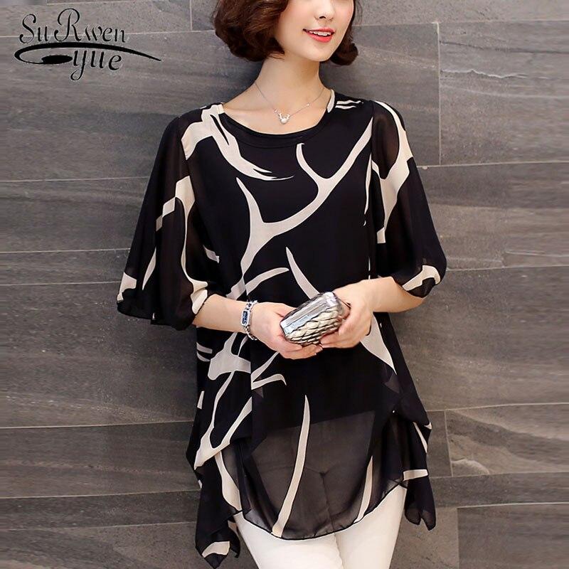 New 2019 Summer Short Sleeve Women's Clothing  Fashion Plus Size 5XL Chiffon Women Blouse Shirt Loose Woemn's Tops Blusas 60A 30