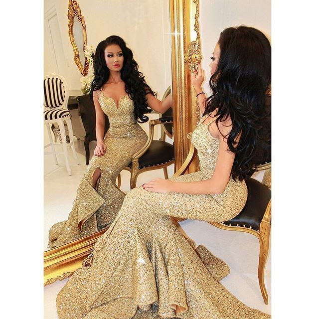 2f1f97f9c55d Sexy Gold Glitter Mermaid Prom Dresses 2016 New Straps Slit Glamorous Party Evening  Formal Occasion Gowns