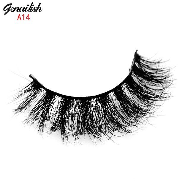 Genailish норки ресницы 3d норки ресницы природных накладные ресницы 1 пара ручной поддельные ресницы расширение для beauty makeup-a14
