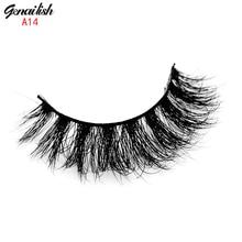 Genailish Mink Lashes 3D Mink Eyelashes Natural False Eyelashes 1 pair Handmade Fake Eye Lashes Extension for Beauty Makeup-A14