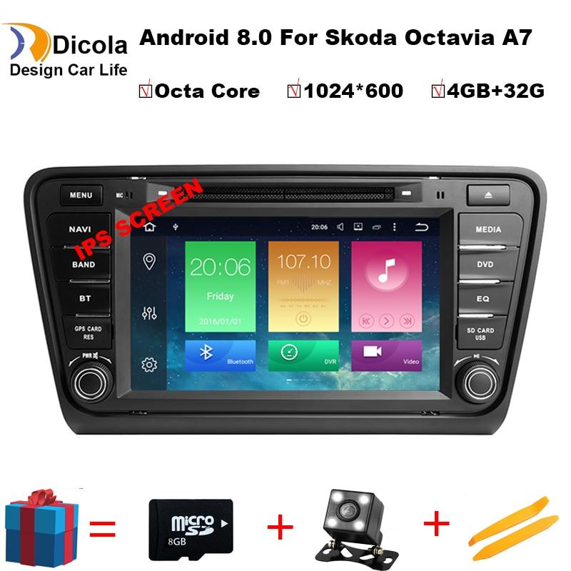 Octa Core 4 + 32G IPS Android 8.0 audio dell'automobile PER SKODA Octavia A7 2014-2017 car dvd lettore dispositivo di testa auto multimedia car stereo