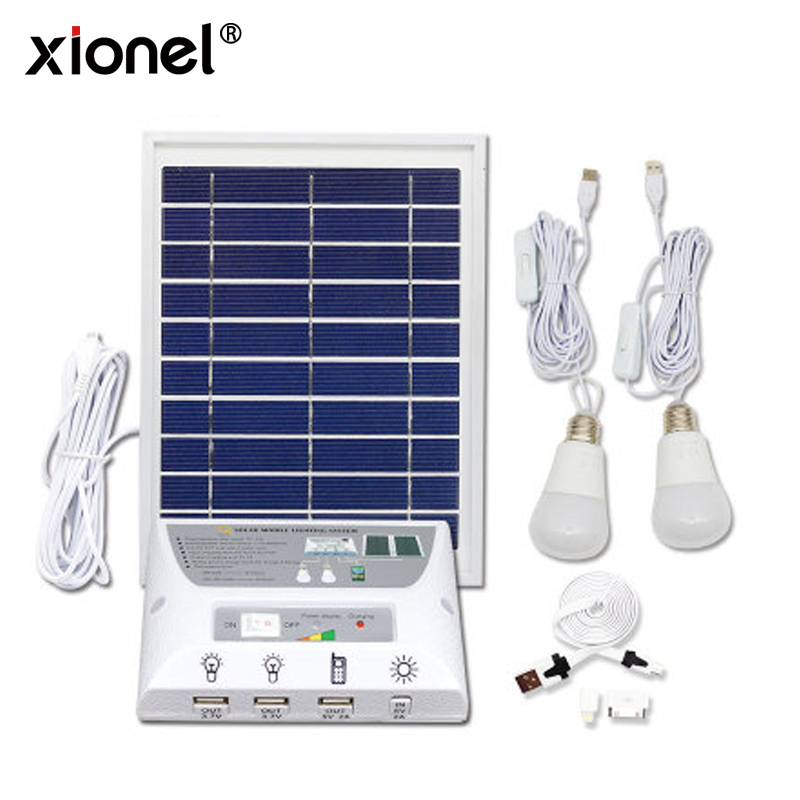 Xionel 4.5W Solar Panel Solar LED lighting system-2W LED lights,3.7V/5000mAhLithium Battery, USB Port with Cell Phone Chargers