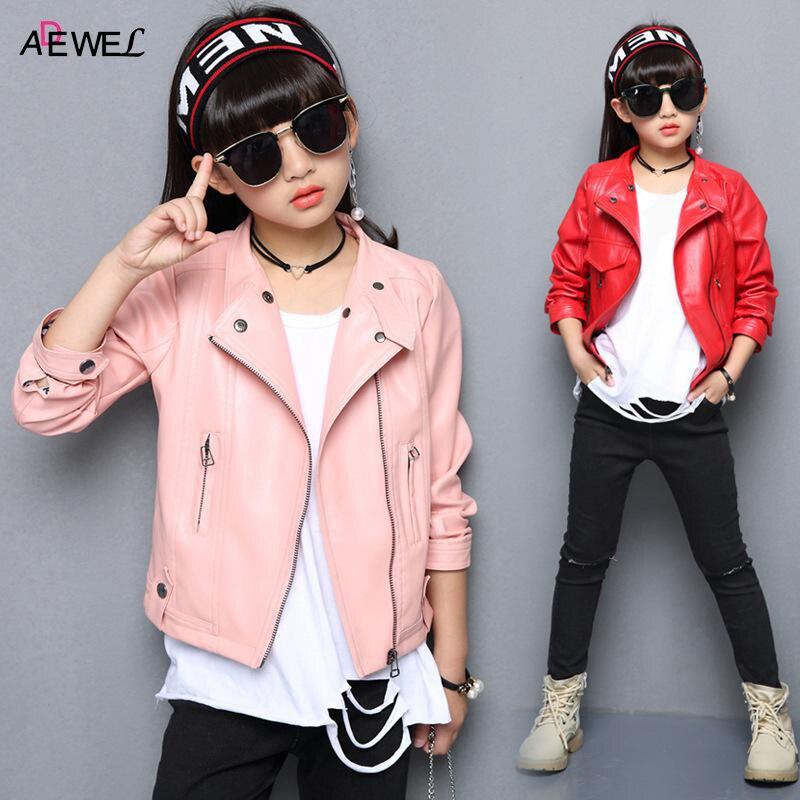 все цены на 2018 Fashion Leather Girls Jackets New Spring Autumn Kids Coat for Girls Turn-down Collar Toddlers Teens Children Outerwear онлайн