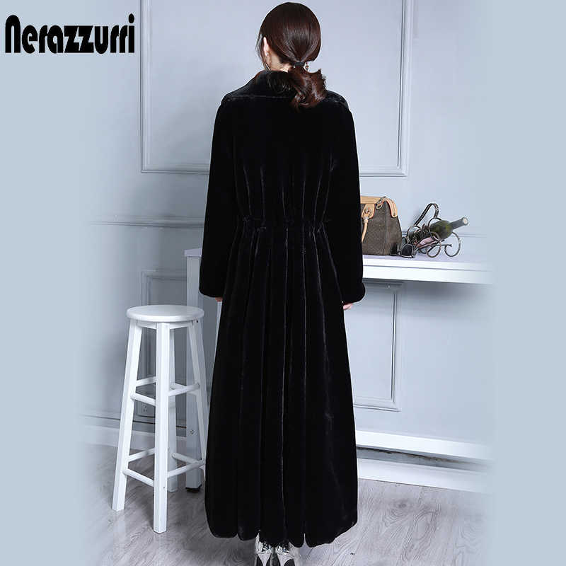 Nerazzurri Extra Long Faux Fur Coat Women Black Luxury Oversized Duster Overcoat Skirt Furry Fake fur Outerwear Plus Size 6XL
