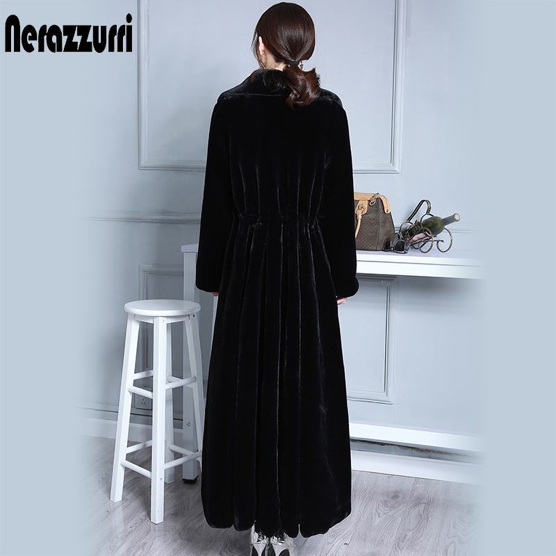 Nerazzurri Extra Long Natural Real Fur Coat Women Plus Size Sheep Shearling Jacket Winter Black Genuine Fur Coat Ladies 5xl 6xl