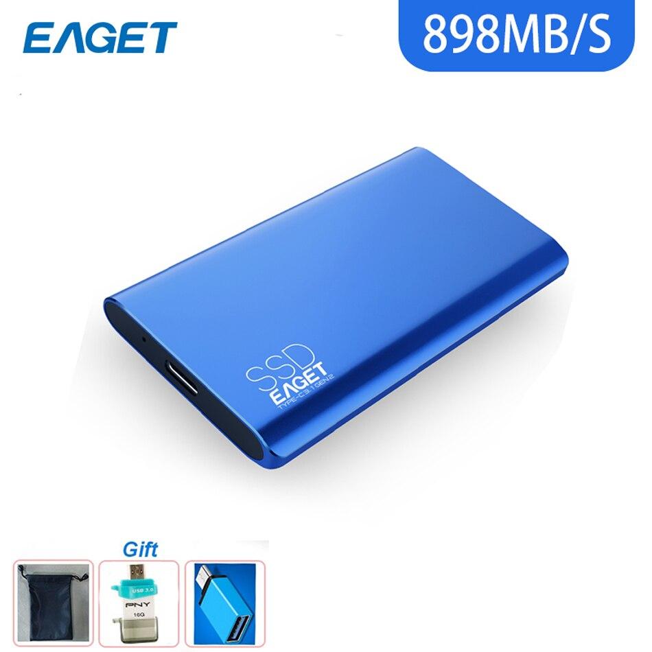 Eaget M10 Super haut débit externe SSD USB 3.1 Gen 2 disque dur type-c 512 GB 1 to Portable SSD métal corps pour Macbook PC
