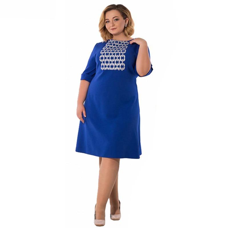 2018 Summer New Fashion Big Size Dress Women Round Neck Loose Dresses  Elegant Lady Jurken Fat MM Plus Size 6xl Clothing Femme 4e30766ab148