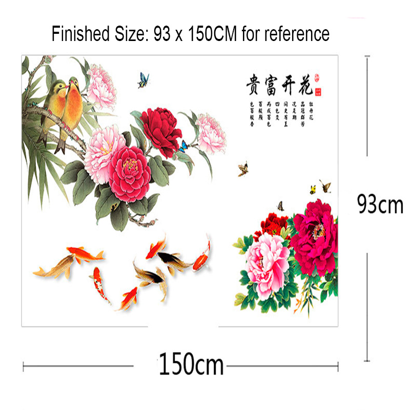 Chinese Style Peony Flowers Lover Bird Wall Sticker Headboard TV Background Decor Wall Mural Poster Art Fortune Come Quote Decal in Wall Stickers from Home Garden