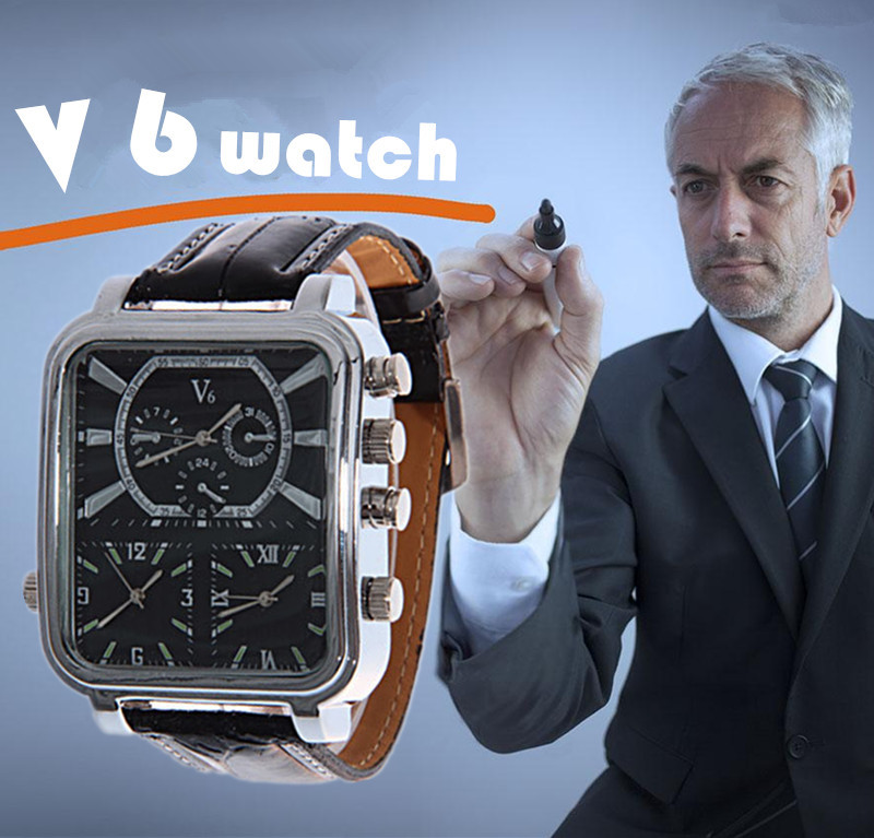 2019 New Watches Fashion And Casual V6 Big Rectangle Dial Quartz Black Leather Quartz Analog Watch For Men Sport Military Watch