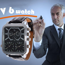 2019 New Watches Fashion and Casual V6 Big Rectangle Dial Quartz Black Leather Q