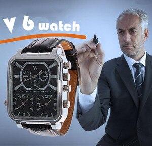V6-reloj analógico de cuarzo para hombre, deportivo, militar, informal, con esfera de rectángulo grande, de cuero negro