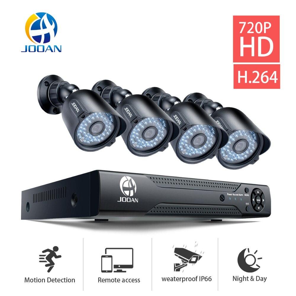 JOOAN 4-канальный видеонаблюдения система супер камера 1mp 1200TVL видеонаблюдения 4 канала 1080p полном 720p АХД видеонаблюдения DVR камеры системы Откр...
