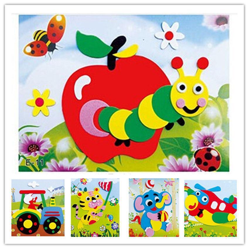 Happyxuan 20 Designs/lot DIY Cartoon Animal 3D EVA Foam Sticker Puzzle Series E Early Learning Education Toys For Children