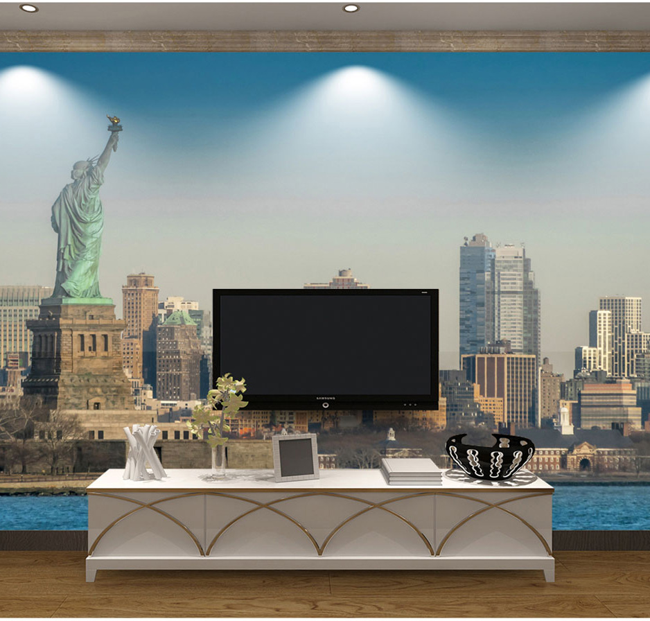 Large Statue of Liberty New York City Wallpaper 3d Wall Photo Mural for Living Room Sofa Background 3d Wall Mural Wall paper shinehome black white cartoon car frames photo wallpaper 3d for kids room roll livingroom background murals rolls wall paper