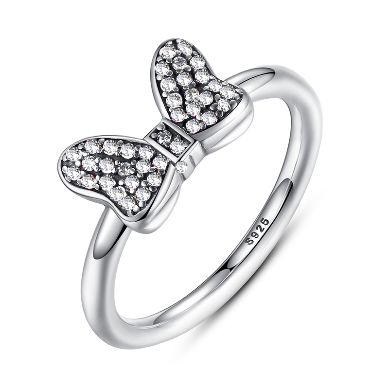 c62f80aee Detail Feedback Questions about Bow Shape Female Cute Silver Color Rings  Girl Birthday Present White Crystal Rings Cute Minnie Bow on Aliexpress.com  ...