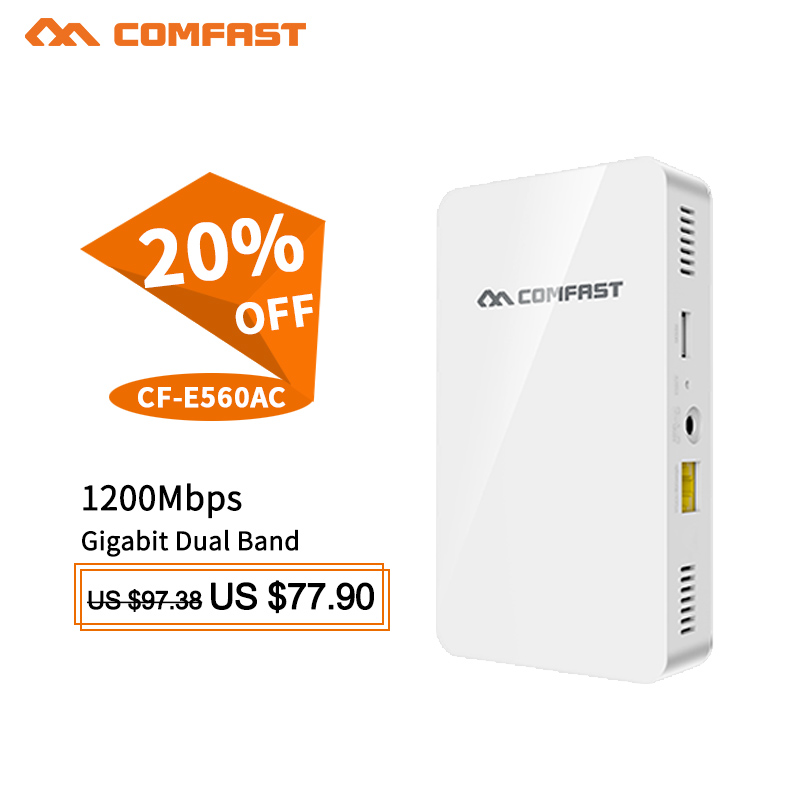 COMFAST 1200Mbps Wall Embedded AP 2.4G 5.8G Dual Band 48V POE Wireless WIFI router Wave2 Access Point USB Charger +5* RJ45 Port comfast сравни 912ac 2 4g 5 8ghz интеллектуальный двухдиапазонный 1200mbps максимальная скорость usb3 0 интерфейса беспроводной адаптер