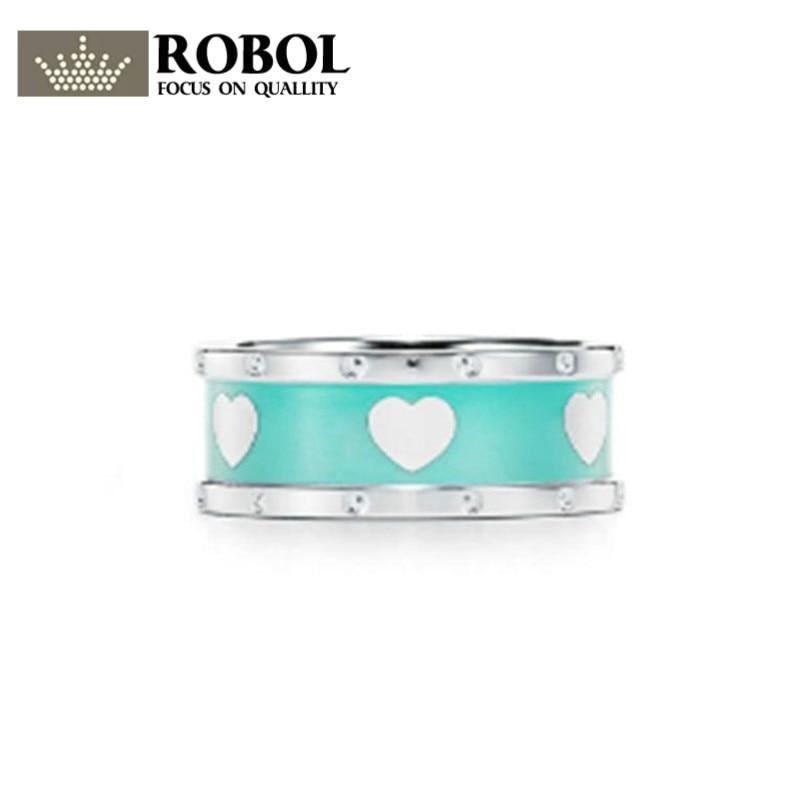 ROBOL Gift Charm 925 Sterling Silver Heart Ring Blue Elegance Attractive Temperament World Jewelry TIFFROBOL Gift Charm 925 Sterling Silver Heart Ring Blue Elegance Attractive Temperament World Jewelry TIFF