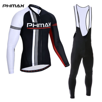 PHMAX 2019 Long Sleeve Bib Cycling Set Quick-Dry Mountain Bike Cycling Clothing Racing Bicycle Cycling Jersey Suit For Men