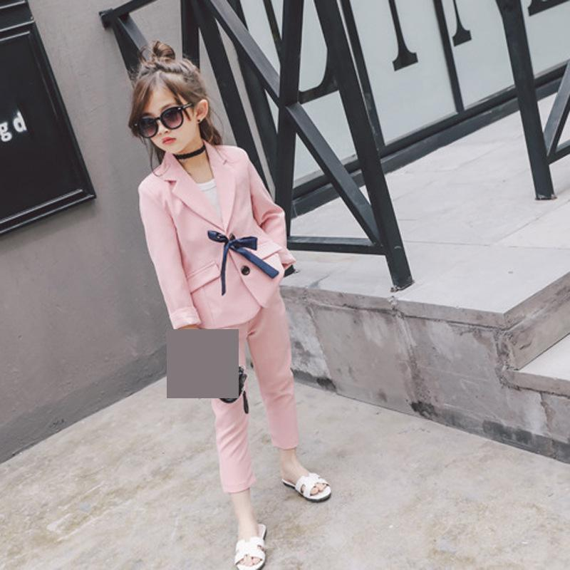 Kids Girls Suits 2pcs Spring Full Sleeves Sweet Pink Cool Blue Sets Children Clothing Fashion Trousers 24m-8t Girl Cloth 4cs286 рюкзак hama sweet owl pink blue