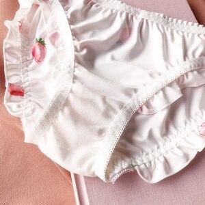 Image 5 - ผ้าฝ้ายสไตล์ญี่ปุ่นชุดชั้นในสบายขนาดเล็ก Pad ถ้วย Bra ชุด frilling การพิมพ์สตรอเบอร์รี่เซ็กซี่ชุดชั้นในชุดชั้นในกางเกงชุด
