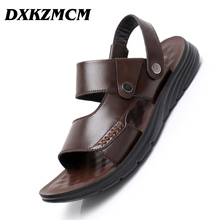 Hakiki deri erkek ayakkabısı yaz erkek sandalet erkek sandalet moda plaj terlikleri