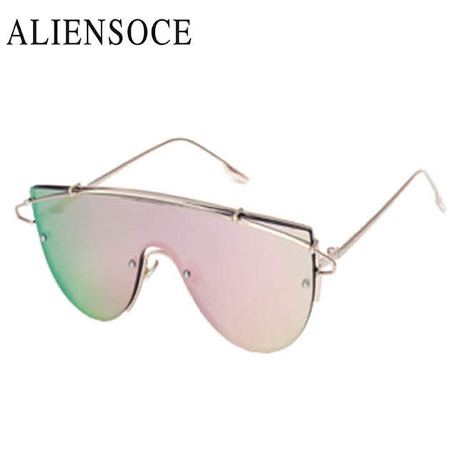 67e6a49c24 New Fashion Brand One Piece Lens Sunglasses Women Metal Vintage Oversized  Tinted Sunglasses Mirror Male Female Pink Yellow Cool