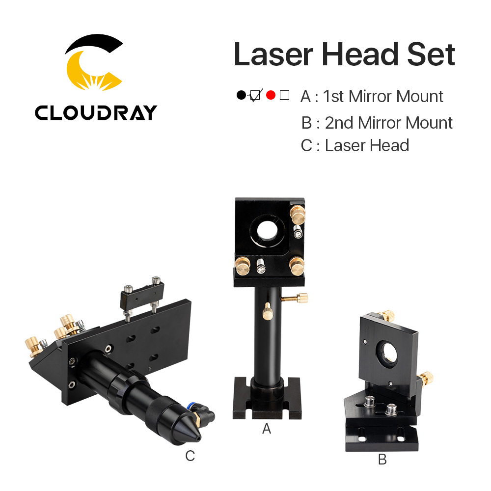Cloudray CO2 Laser Head Set / Mirror and Focus Lens Integrative Mount Houlder for Laser Engraving Cutting Machine-in Woodworking Machinery Parts from Tools