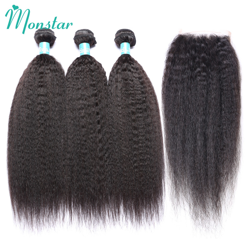 Monstar Peruvian Kinky Straight Hair with Closure Unprocessed Virgin Human Hair Bundles  ...