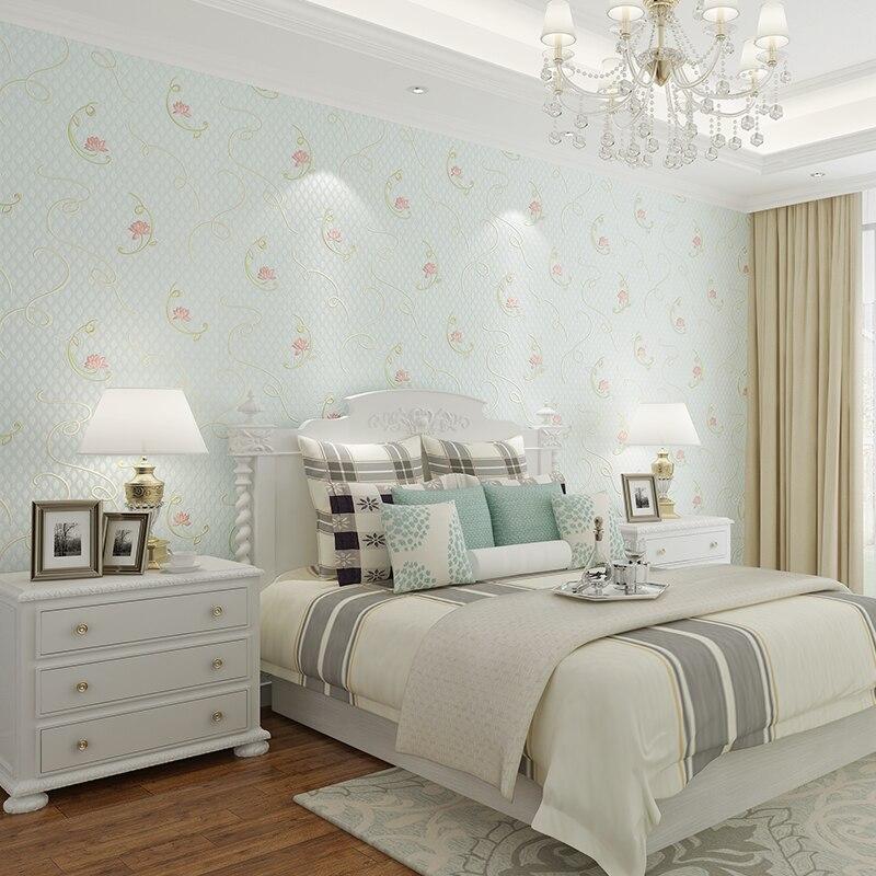 Купить с кэшбэком PAYSOTA Pastoral Style Wallpaper Bedroom Living Room Ssimple Pink Yellow Blue Green Wall Paper Roll